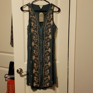 Anthropologie Tiny embroidered button down dress